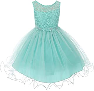 Stretch Lace Bodice Wired Tulle Skirt with Flower Patch on Waistline Girl Dress