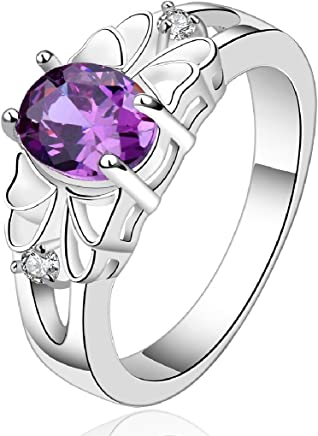 Fashion 925 sterling silver jewelry purple zircon hollow style elegant ring size 7 by joyliveCY
