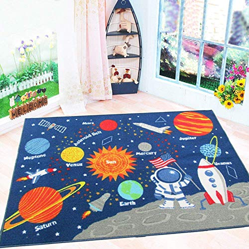 HEBE Kids Rugs Non Skid Washable Outer Space Rug Children Educational Learning Carpet for Playroom Bedroom Solar System Large Area Rug Blue 3.3' x 4.3' (Stars)