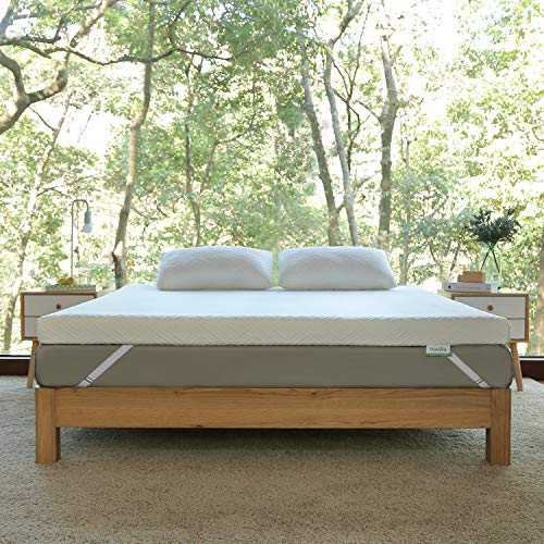 Novilla 4 Inch Foam Mattress Topper Queen, Medium Firm Queen Mattress Topper, Gel & Bamboo Charcoal Infused for Motion Isolation & Pressure Relieving, with Washable Bamboo Cover, Queen Size, Yozora