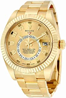 Sky Dweller Champagne Dial GMT 18kt Yellow Gold Mens Watch 326938CAO