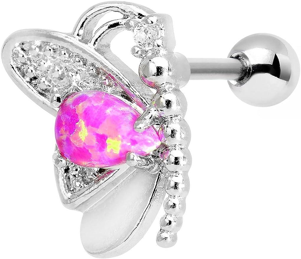Body Candy Steel Barbell Pink Synthetic Opal Butterfly Left Cartilage Earring 16 Gauge 1/4