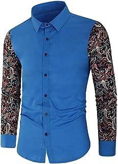 HJHK Camicia da Uomo a Maniche Lunghe Camicie Slim Fit Maniche in Pizzo Floreale Vuoto Shirt Elegante Camicetta in Ferro F...