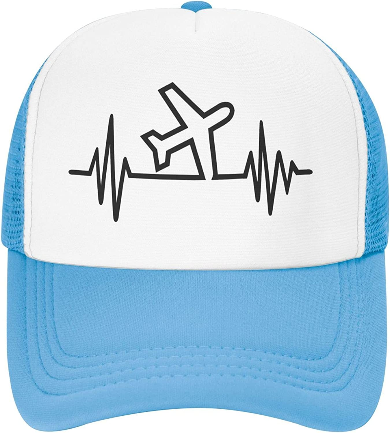 Airplane Pilot Heartbeat Kids Boys Hat Trucker Adjustable Max 78% OFF Factory outlet Girls
