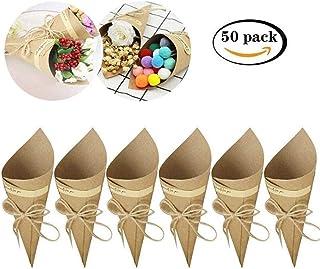 Killow - Lote de 50 Conos de Papel Kraft + 50 Cuerdas + 50