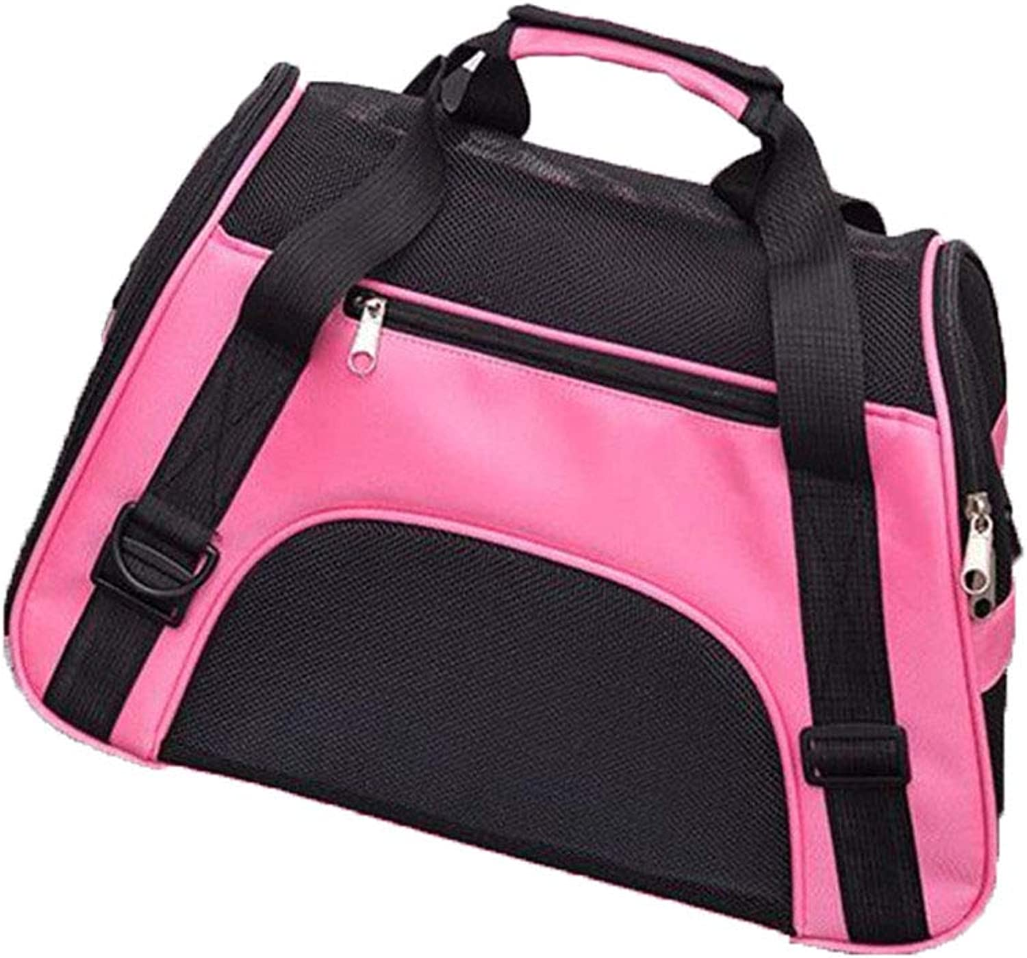 Pet Backpack Messenger Carrier Bags Cat Dog Carrier Outgoing Travel Packets Breathable Pet Handbag pink 53x26x36cm