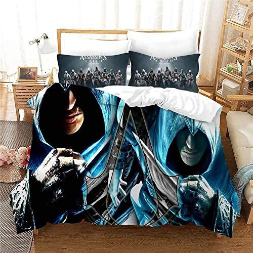 RITIOA Assassin's Creed - Juego de funda de edredón y 2 fundas de almohada de 50 x 75 cm