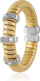 AL Liali Jewellery Women's Tessitore Ring, 7 US, 0.12 Carat, Yellow