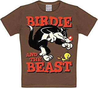 Logoshirt - Looney Tunes - Piolin y Silvestre - Pajarito y la Bestia - Verde - Diseño Original con Licencia