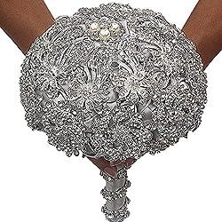 Silver+gray Luxury Artificial Diamond Bouquets
