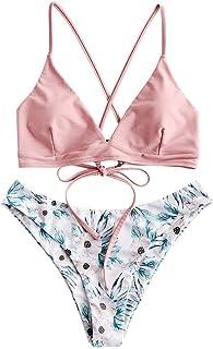 طقم بيكيني مزين بأربطة بأربطة من ZAFUL للنساء ملابس سباحة براليت بتصميم ورد