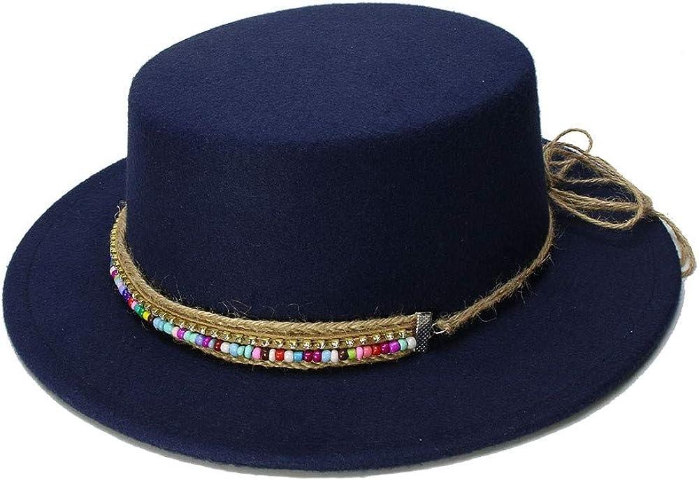 MUMUWU Women's Wool Boater Flat Top Hat Felt Wide Brim Fedora Hat Gentleman Prok Pie Chapeu Feltro Bowler Gambler Top Hat