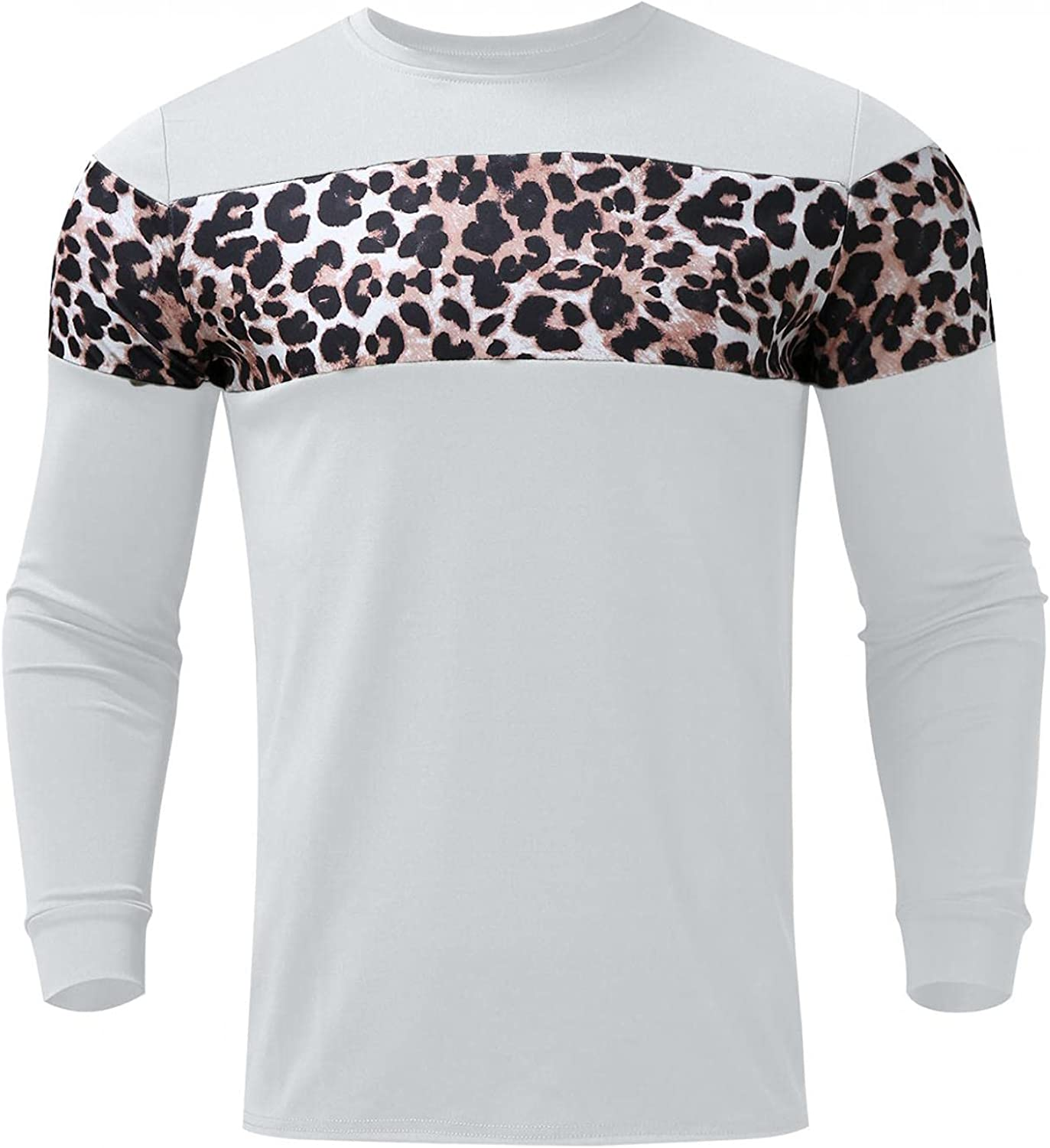 VEKDONE Mens Slim Fitted Long-Sleeve Tee Shirts Casual Cotton Leopard Printed Contrast Color Stitching T-Shirt Fashion Tops
