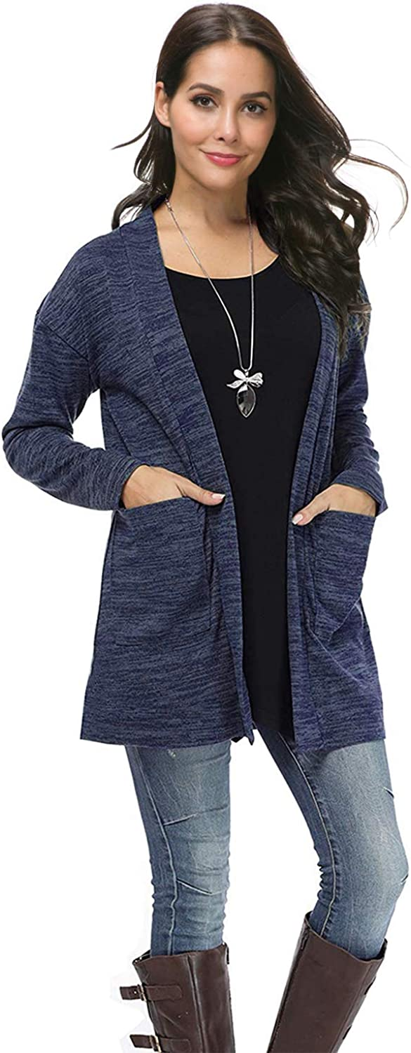Ellies Womens Open Front Cardigan Long Sleeve Solid color Kimono Coat with Pocket