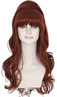 Missuhair 70s 80s Women Housewife Beehive Costume Wigs Wife Big Red Hair Fits Adults Kids (Copper Red)