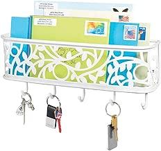 mDesign Portachiavi multiuso in metallo – Elegante porta chiavi da parete ideale per l'ingresso – Portachiavi con vaschetta portacorrispondenza e 5 ganci da appendere al muro – bianco opaco