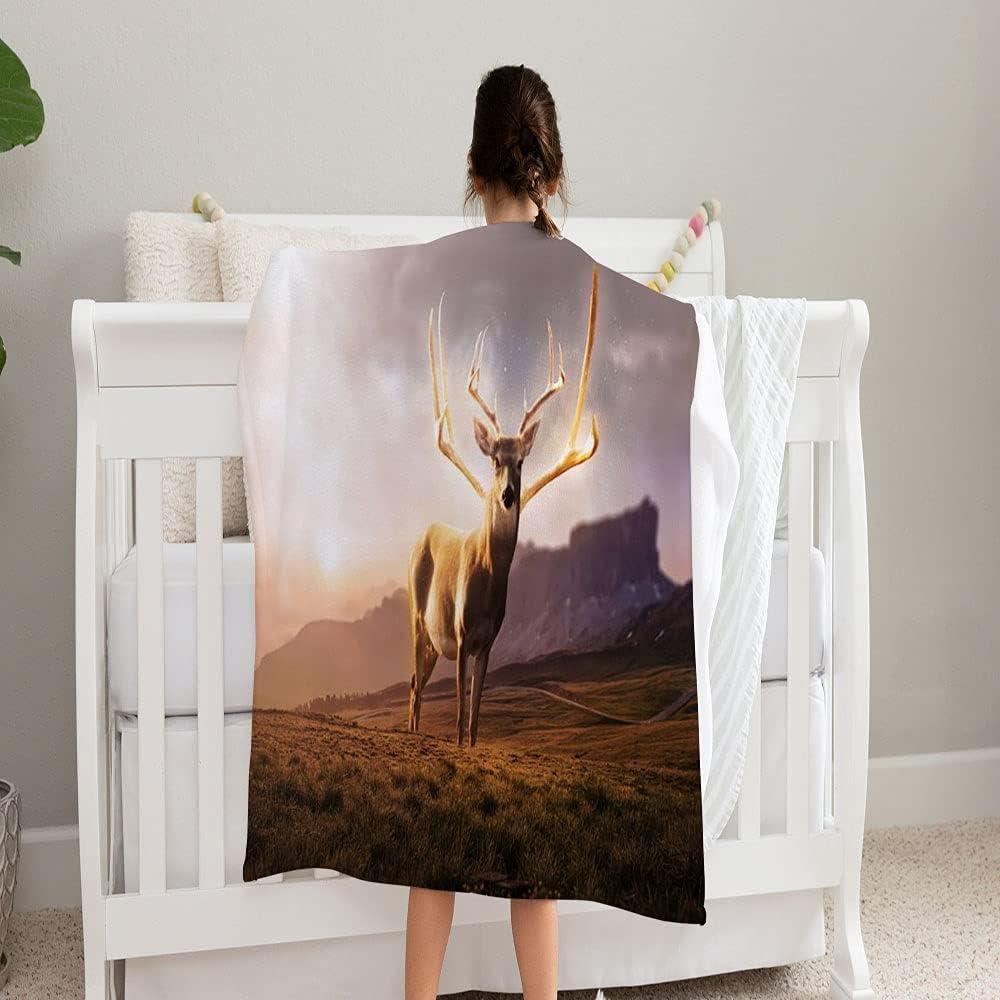 GANTEE Glowing Discount mail order Fantasy Big Deer Blanket Field S Super Popularity Mountains