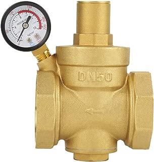 Pressure Reducing Valve, BSP DN50 Brass Water Pressure Reducing Valve Adjustable Water Control Pressure Regulator Valve Thread with Gauge Meter 1.6MPa