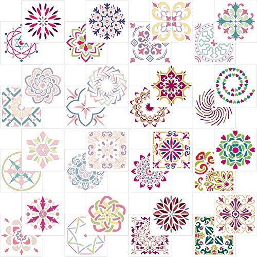 AIEX Mandala Dotting Schablone, 32 Stück Sortierte Muster Wiederverwendbares Mandala Schablonen für DIY Wand, Felsen Stein, Holzmöbel und mehr