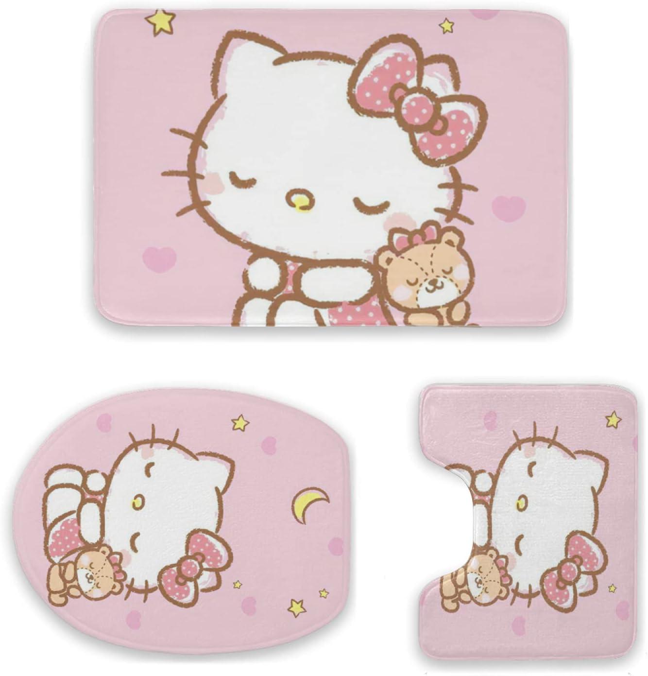 Sanrio Sale Special Price Hello Kitty Max 46% OFF Bath Mat 3 Set Bathroom Piece Rugs Carpet