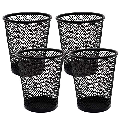 4 Pack Pen Holder Metal Mesh Pencil Holders Round Shaped Pen Holders for Desk Office Wire Mesh Container Pen Organizer,Black