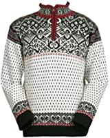 ICEWEAR Bjorn Wool Lined Sweater Norwegian Style Quarter Zip Light 100% Worsted Wool Long Sleeve Outdoor Sweater | White - Large