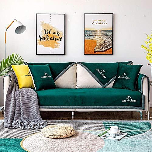 JIAHENGY Cubre Sofas Impermeable Protector,Cojín de sofá Antideslizante de Estilo Pastoral, Toalla de sofá de Invierno, Funda de sofá Flexible Lavable-Verde_110x240cm / (43x95 Pulgadas)