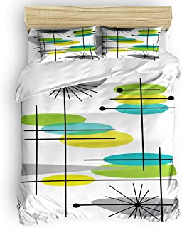 Romance House Duvet Cover Set California King Size, 4 Piece Mid-Century Abstract Modern Design Bedding Set - 1 Quilt Cover 1 Bedspread 2 Pillow Cases for Childrens/Kids/Teens/Adults, Multicolor