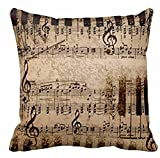 Andreannie Retro Shabby Sheet Music Cotton Linen Personalized Throw Pillow Case Cushion Cover New Home Office Room Sofa Car Decorative Square 18 X 18 Inches