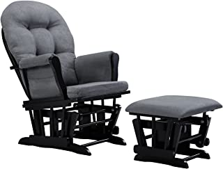 Angel Line Windsor Glider and Ottoman Cushion, Black/Dark Grey