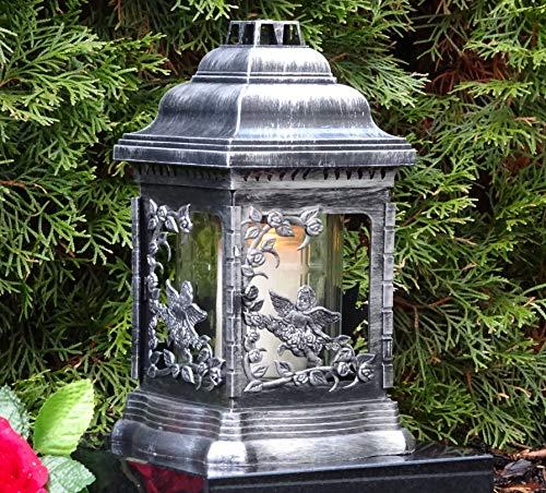 ♥ graflantaarn graflamp engel rozen zilver met grafkaars grafversiering graflicht graflicht lantaarn kaars lamp