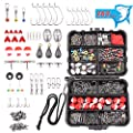 HAPYTHDA 263pcs Fishing Accessories Kit,Including Jig Hooks,Bullet Bass Casting Sinker Weights,Fishing Swivels, Bobbers,Sinker Slides,Fishing Set with Tackle Box,Fishing Gifts for Men