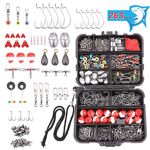HAPYTHDA 263pcs Fishing Accessories Kit, Mini Portable Including Jig Hooks,Bullet Sinker Weights,Fishing Swivels, Bobbers,Sinker Slides with Tackle Box,Beginner Freshwater Fishing Gifts for Kids Men
