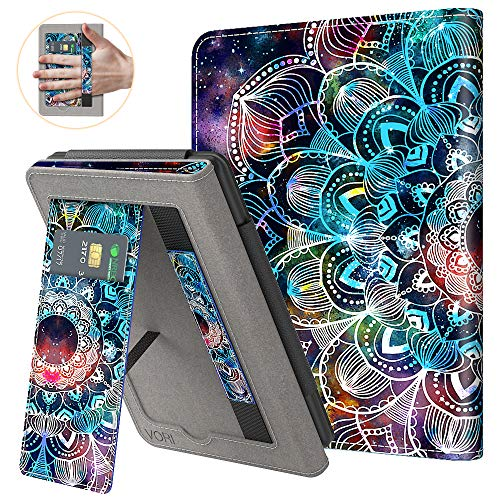 VORI Stand Case for Kindle Paperwhite (Fits All-New 10th Generation 2018 / All Paperwhite Generations) PU Leather Case Smart Protective Cover with Auto-wake/sleep and Hand Strap, Mandalas Galaxy