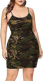 Geilisungren Damen Mode Camouflage Druck Sommerkleid Sexy O-Ausschnitt Spaghettiträger Minikleid Slim Fit Figurbetont Bleistiftkleid Große Größen Freizeit Kleid