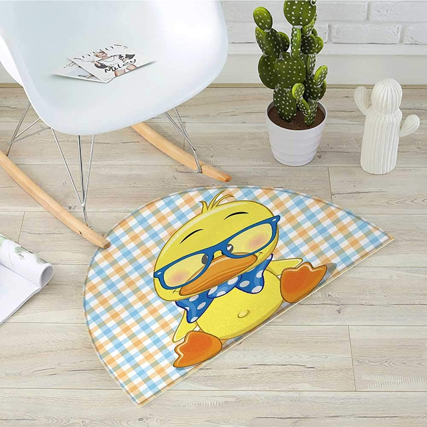 Cartoon Semicircle Doormat Hipster Boho Baby Duck Dotted Bow Cool Free Spirit Smart Geese Artsy Design Halfmoon doormats H 39.3  xD 59  orange Yellow bluee