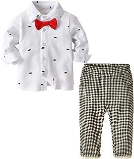 Milkiwai ベビーフォーマルスーツ 長袖 ロングパンツ チェック柄 上下セット 男の子 結婚式服 size 120 (ホワイト)