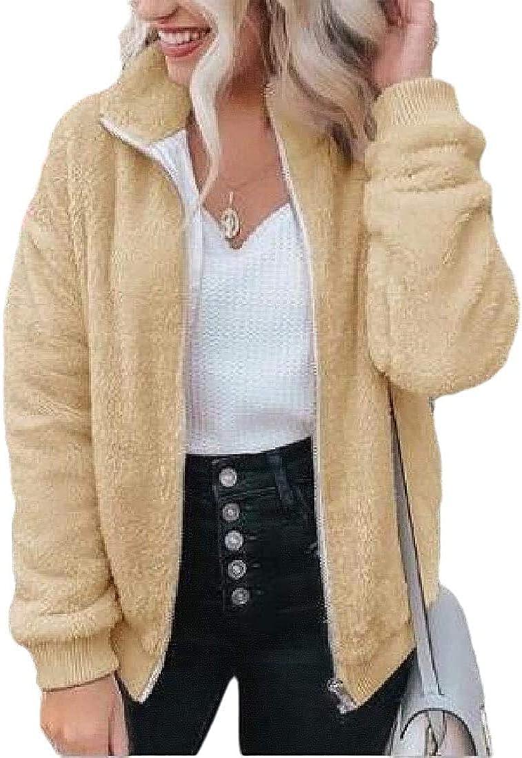 Yhsuk Women Fuzzy Fall-Winter Jacket Faux-Fur Warm Full Zip Coat Outerwear