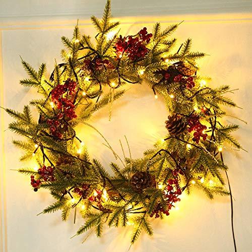 Topashe Hoja de Arce Calabaza Berry Guirnalda,Adornos navideños, Guirnalda decoración de Puertas Rattan-B_50cm con luz,Corona de Navidad con iluminación