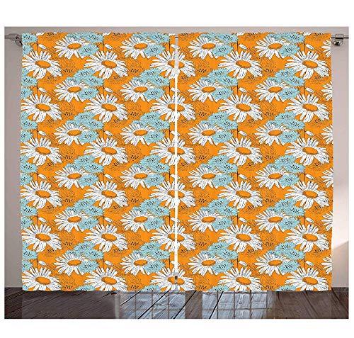 MUXIAND oranje gordijnen bloeiende lente madeliefjes op oranje achtergrond romantische vrouwelijke bloemblaadjes woonkamer slaapkamer raamdecoratie paneel