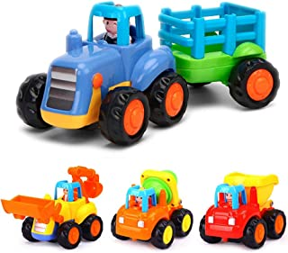 Yiosion Push and Go Friction Powered Cars Construction Vehicles Toy Set Tractor Bulldozer Mixer Truck Dumper for 1 2 3 Yea...