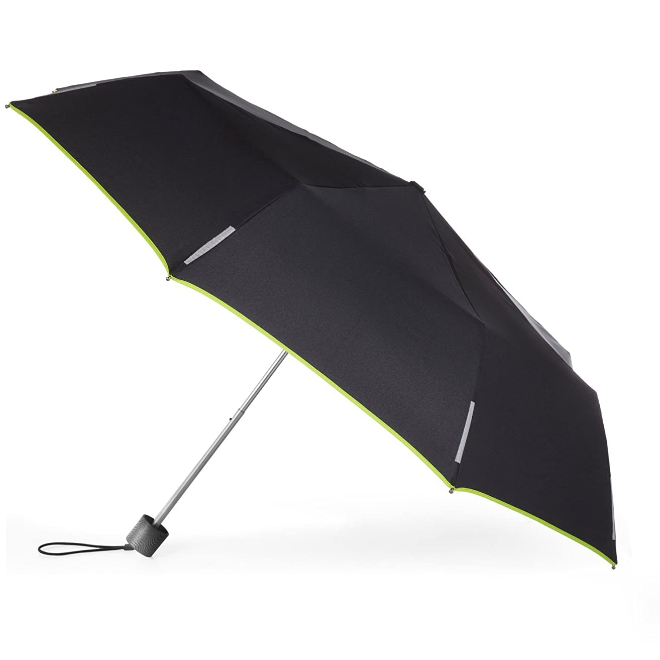 Totes TRX Manual Lightweight Trekker Umbrella by Totes (One size, Black/Apple Green Piping)