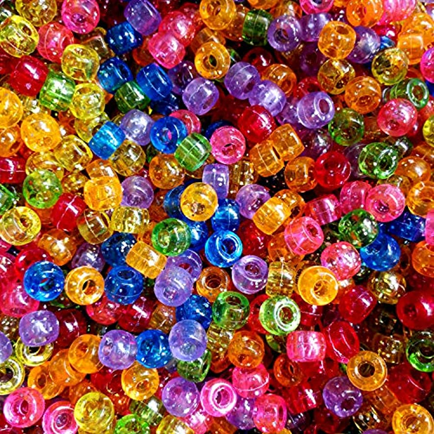 Amaney 500 Pieces 6x9mm Mixed Colors Glitter Transparent Mix Plastic Pony Beads