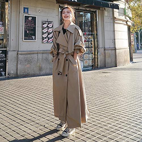 Windbreaker Luźne ponadgabarytowe damskie windbreaker podwójne breasted pasek panie płaszcze wiosenne i kurtka jesieni CHENGYYDP (Color : Khaki, Size : L)