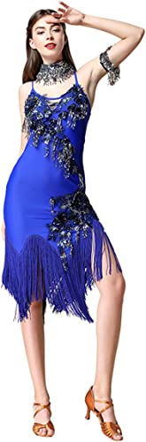 H&Q Costume de Danse Latine Adulte Femme Pratique Paillettes Perforhommece Gland Costume de Danse Latine