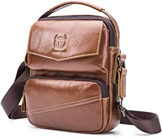 Haibeisi Fashion Unique Men's Shoulder Bag Leather Casual Shoulder Crossbody Bag Leather Handbag (Color : Brown, Size : M)