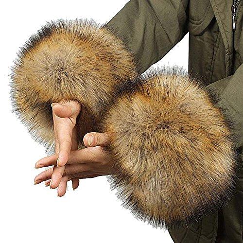 Cheerlife Damen Mädchen Faux Fell Pelz Armstulpen Stulpen Manschetten Fellstulpen Handschuhe Herbst Winter Braun