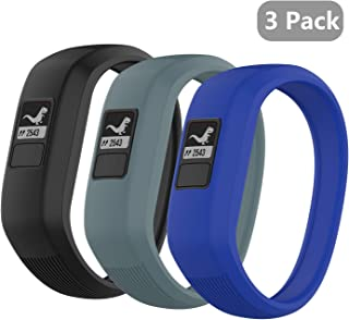 (3 Pack) Seltureone Band Compatible for Garmin Vivofit jr, jr 2, 3 Bands,  All-in-one Silicon Stretchy Replacement Wristbands for Kids Boys Girls (No Tracker)- Black, Cyan, Blue (Small)