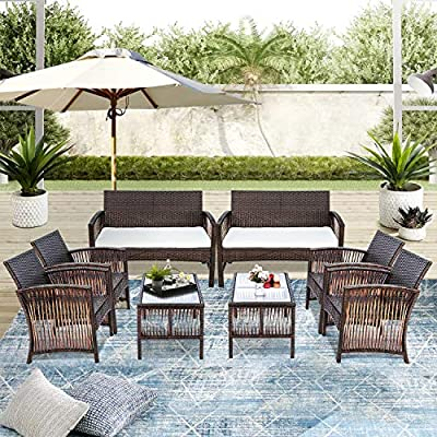 Merax Patio Conversation Set Outdoor 8 Piece Wicker Furniture Set Rattan Bistro Sets with Coffee Table & Weather Resistant Cushions (Brown)