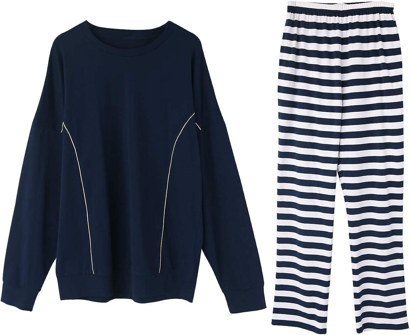 IKIIO Men's Pajamas Set Cotton Jersey Knit Top Striped Bottom PJs Sleepwear Lounge Set
